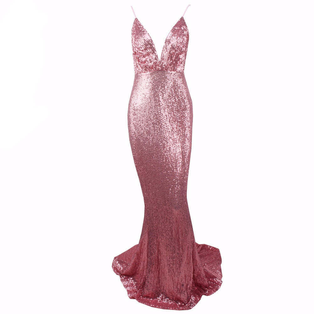 Anna Nicole | Sexy Deep V Sequin Maxi Dress