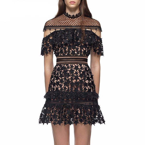Meteor Shower | Ornate Lace Star Patterned Ruffle Dress