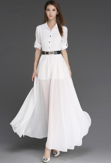 Tyra Ivory | Flowing Belted Polo Dress