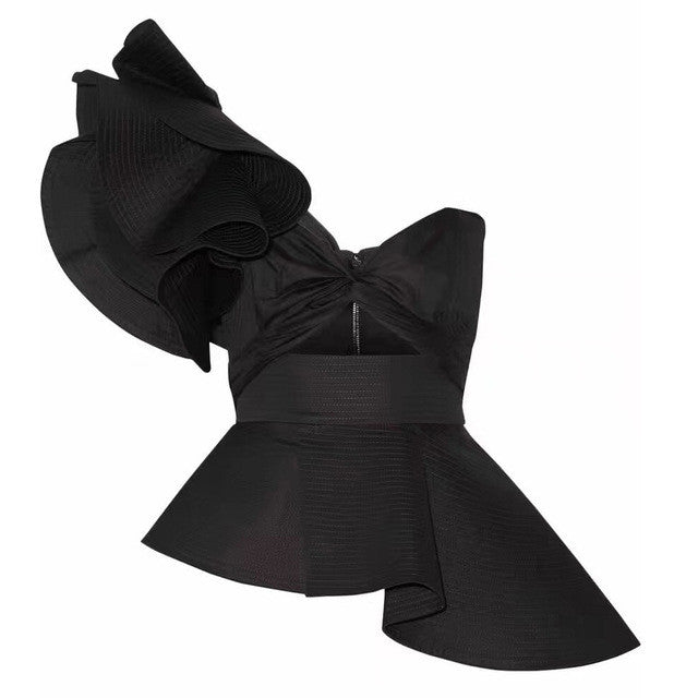 Raven | High Luxury Asymmetric Ruffle Top