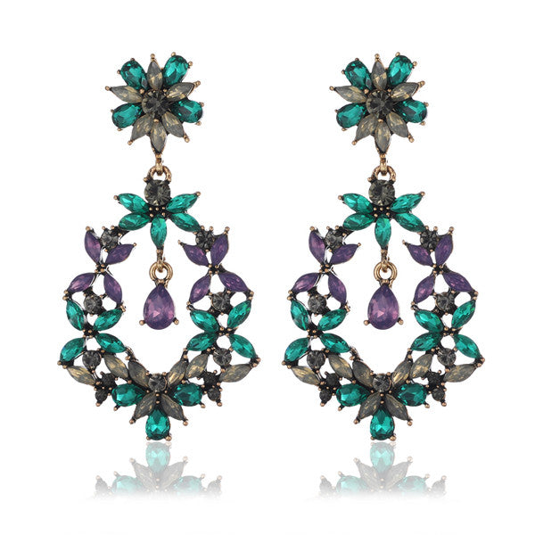 Cotê du Azure Ivy | Luxury Blue Crystal Drop Statement Earring