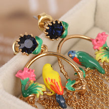 The Birdcage | Floral Enamel Parrot Tassle Earrings