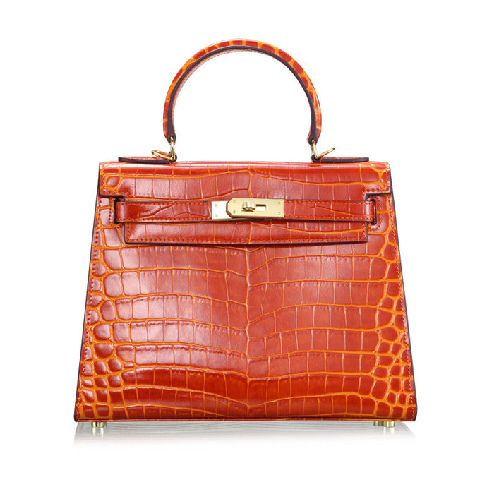 Melissa l High Luxury Orange Alligator Printed Leather HandBag