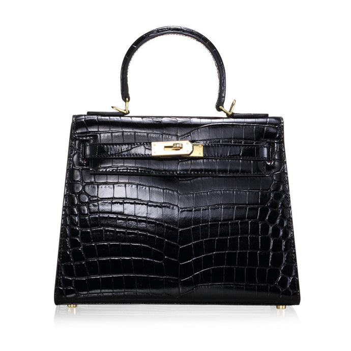 Melissa Noir | High Luxury Black Alligator Printed Leather HandBag