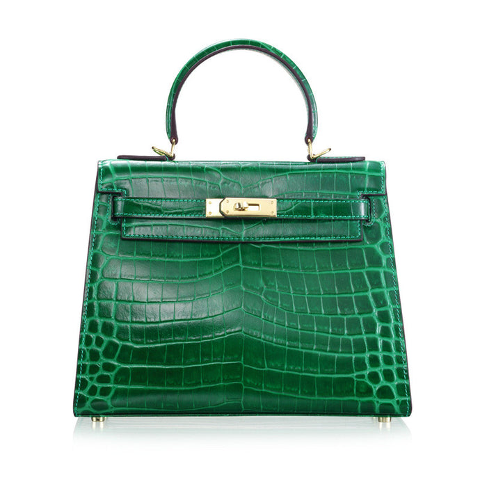 Melissa l High Luxury Green Alligator Printed Leather HandBag