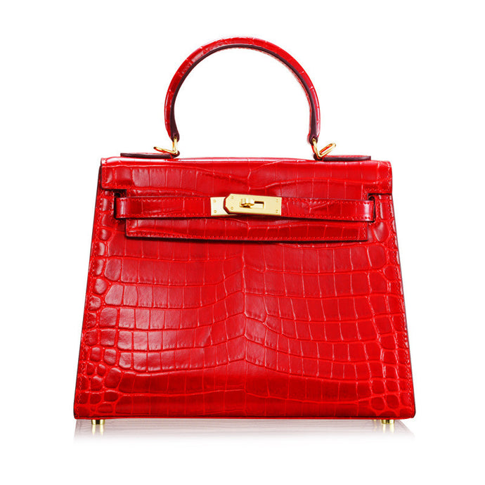 Melissa Rose l High Luxury Red Alligator Printed Leather HandBag