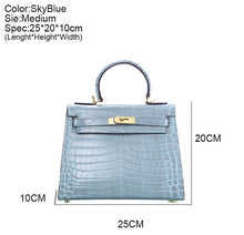Melissa l High Luxury SkyBlue Alligator Printed Leather HandBag