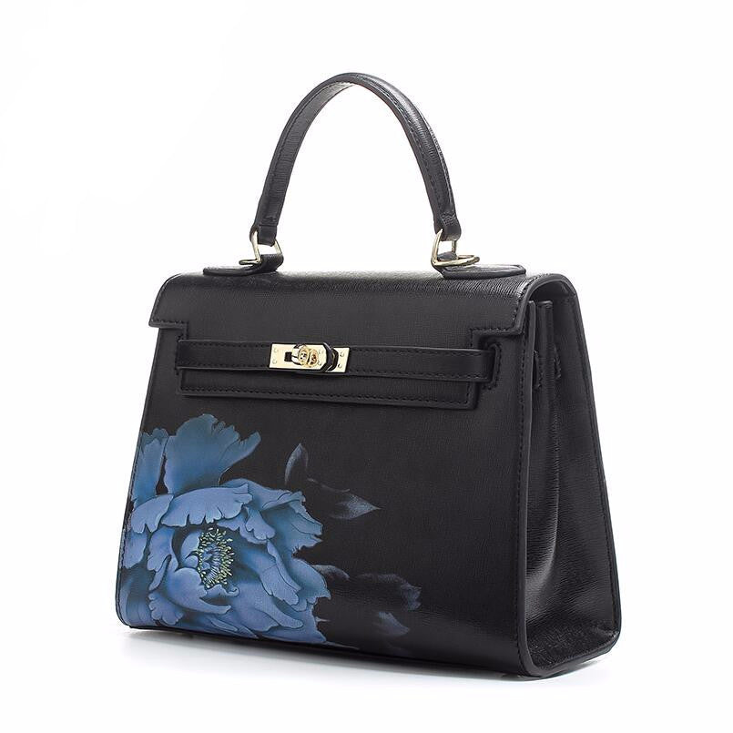 Maribelle Noir l Black Floral Printed Leather Handbag