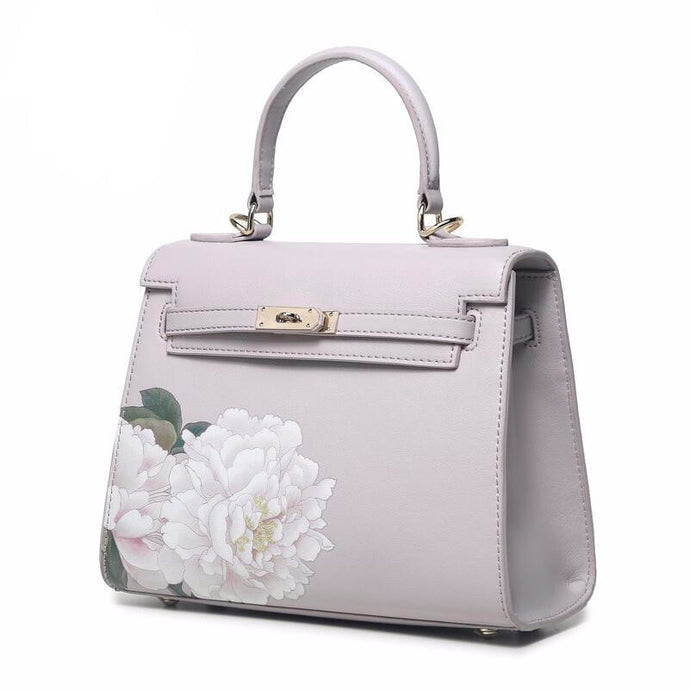 Maribelle l Purple Floral Printed Leather Handbag