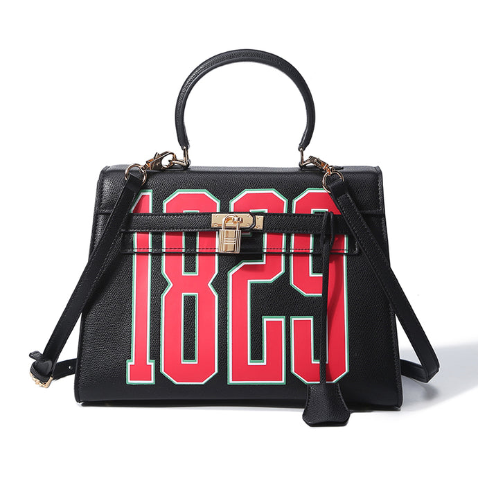 1829 Varsity | Vegan Leather Hand Painted Kelly Bag