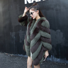 REROYFU Natural Fox Fur Coat Women's Real Fur Jacket Genuine Fur Coats Ladies Female Long Fur Coats Waistcoat