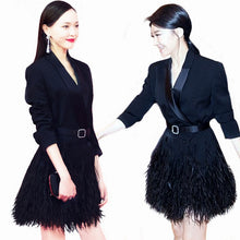 Nomi | Satin Feather Belted Jacket Dress