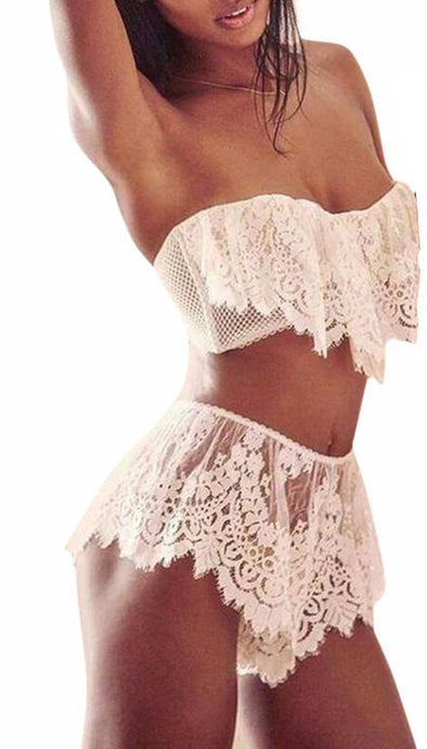 Inna | Plunging Lace Bralette Set