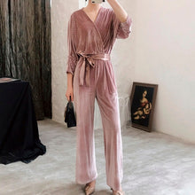 Palazzo | Deep-V Velour Womens Lace up Jumpsuit