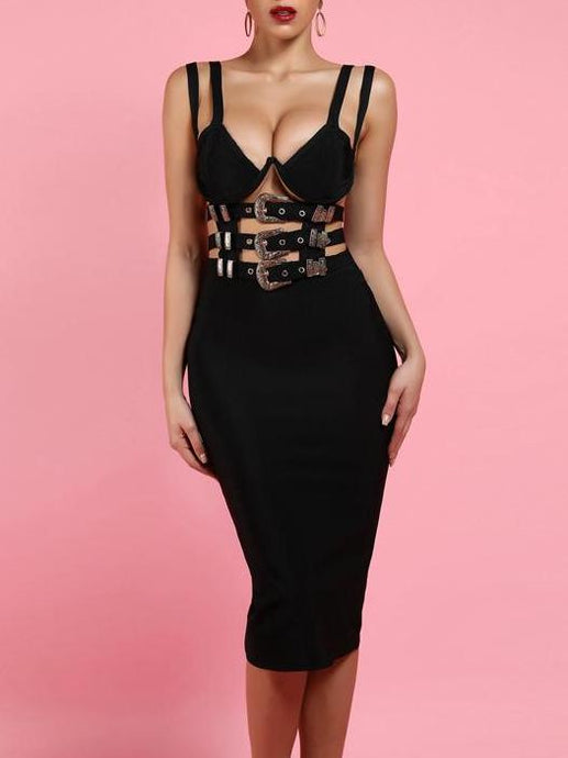 Erotica | Sexy Belted Embellished Bandage Dress