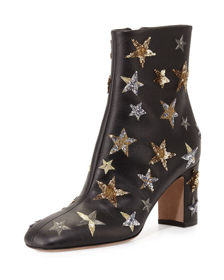 Constellation l Vintage Black Leather Hand Embellished Chunky Ankle Boots
