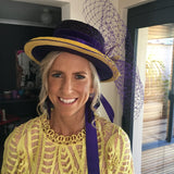 Yellow and Purple Boater Vintage Bunbury Ladies Day Races