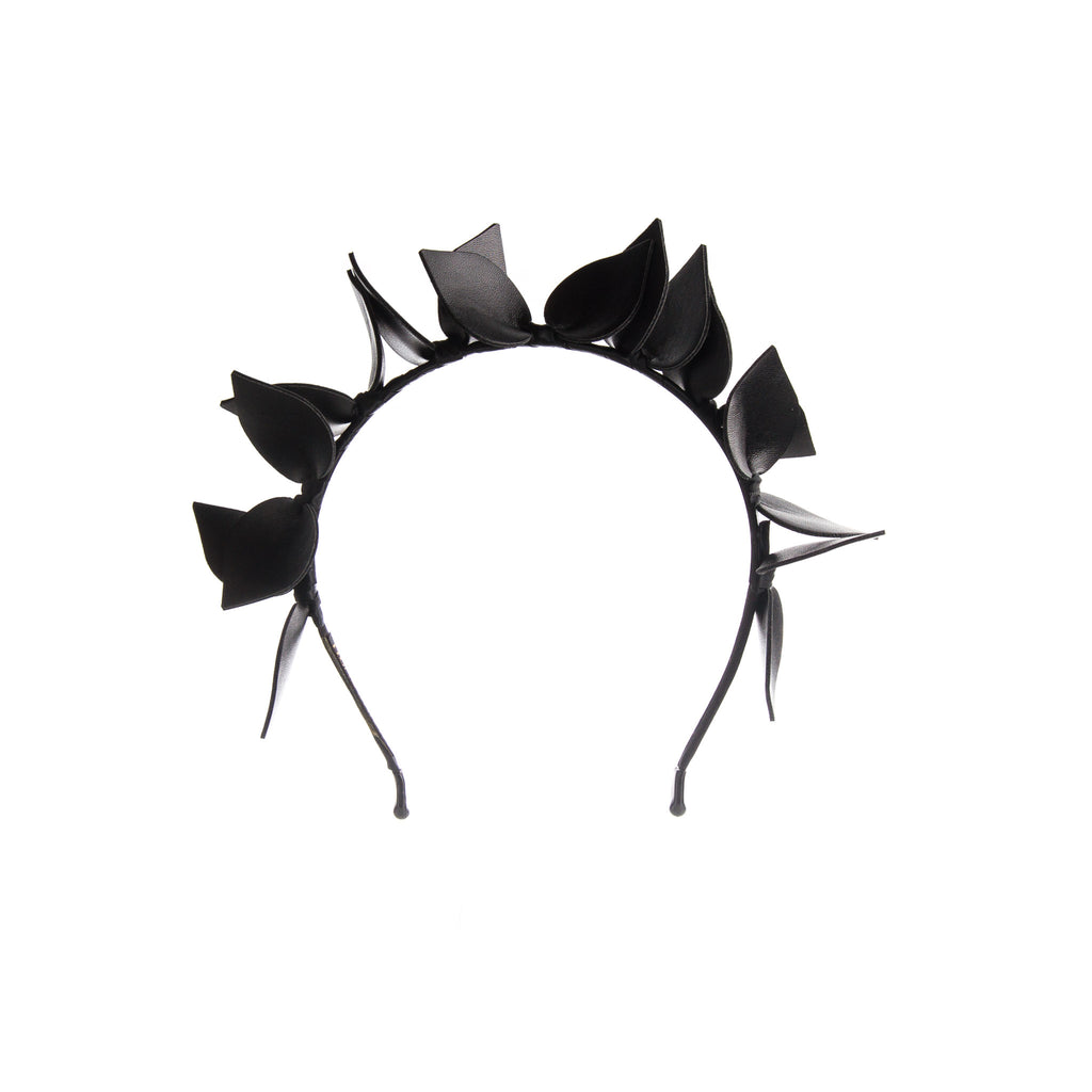 Black Faux Leather Flower Crown Headband Fascinator With Satin Ribbon