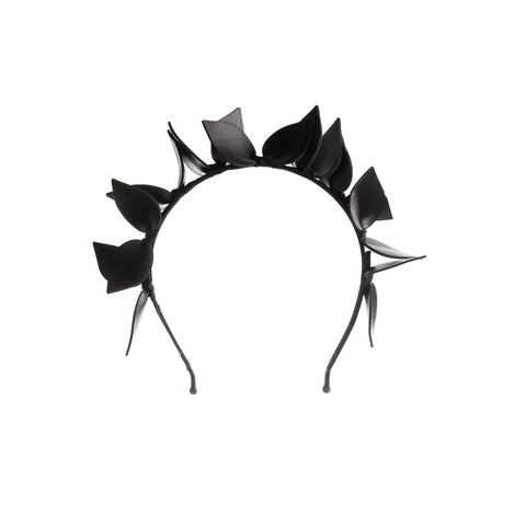 Black Leaf design Crown Fascinator Headband Perth Australia