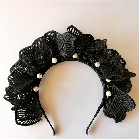 Black Lace Leaf Statement Headband with Pearls