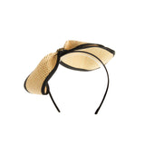 Black and cream straw bow headpiece with gold trim feature