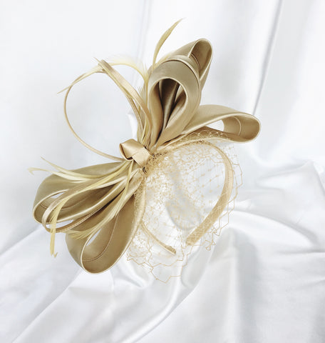 Nude Bow Veiling Headband Fascinator Sydney