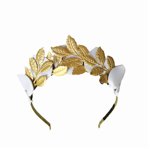 White and Gold Leaf Metal Crown Fascinator