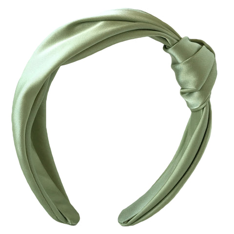 light green silk turban headband fascinator