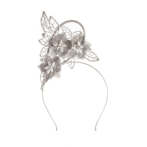 Silver Lace Ladies Fascinator Headband Australia