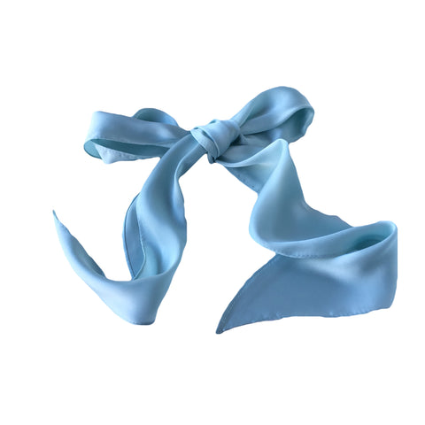 Blue 100% Silk Head Scarf for Hair Fascinator Australia
