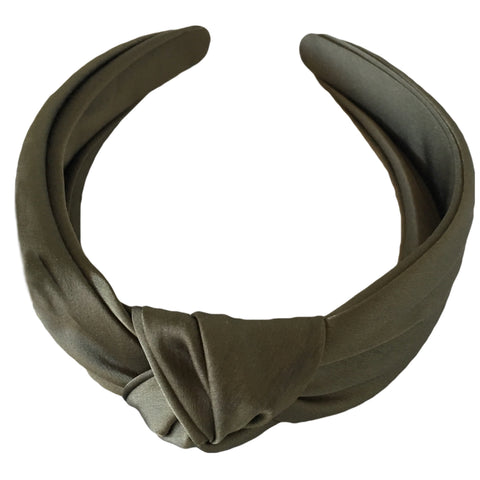 olive green khaki silk turban headband fascinator