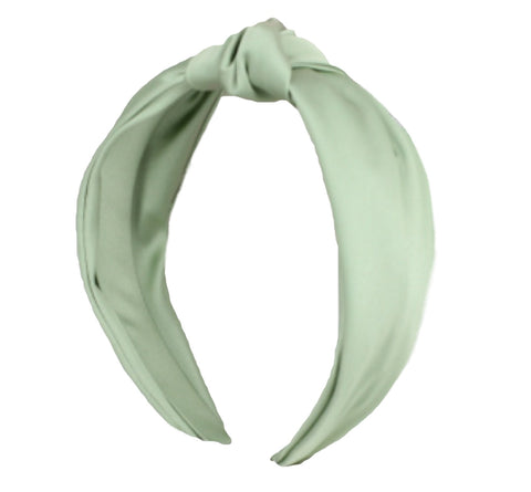 light green silk turban headband fascinator top knot