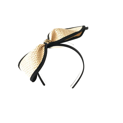 Gold, Cream and Black straw ladies fascinator headpiece Perth