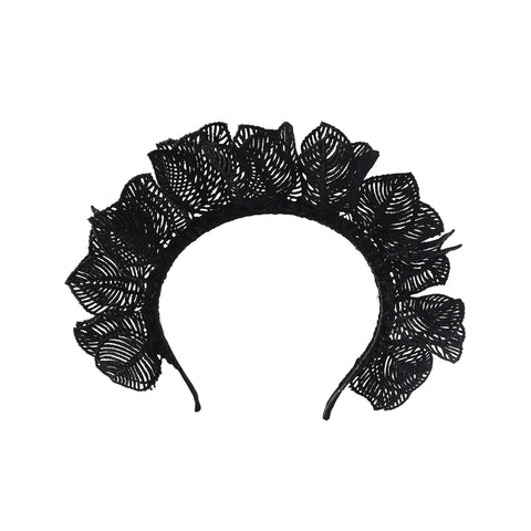 Black Lace design Crown Fascinator Headband Australia