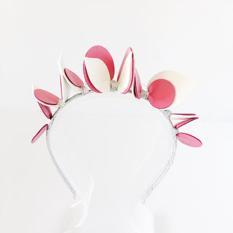 Pink White and Silver Faux Leather Headband