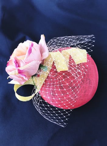 Pink and Yellow Pillbox Fascinator Hat Sydney