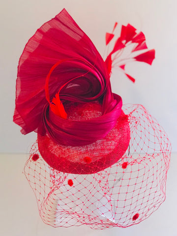 Red Fascinator for the Races Australia