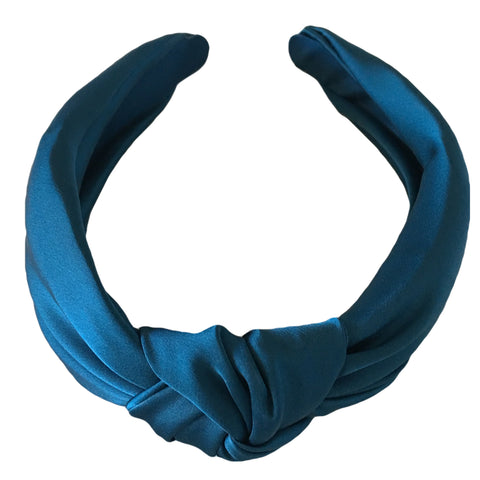 Teal Silk Turban Fascinator Headband - Top Knot