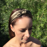 Olive Green Silk Turban Headband Fascinator