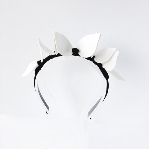 Black and White Leaf design Crown Fascinator Headband Perth Australia
