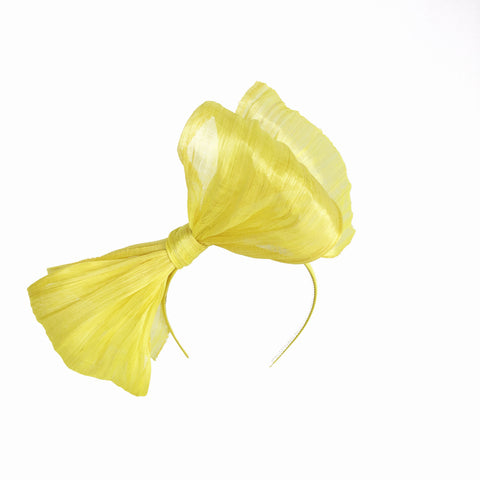 Yellow Abaca Silk Headpiece Fascinator for Melbourne Cup