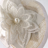 Off-White and White Sinamay Bridal Fascinator