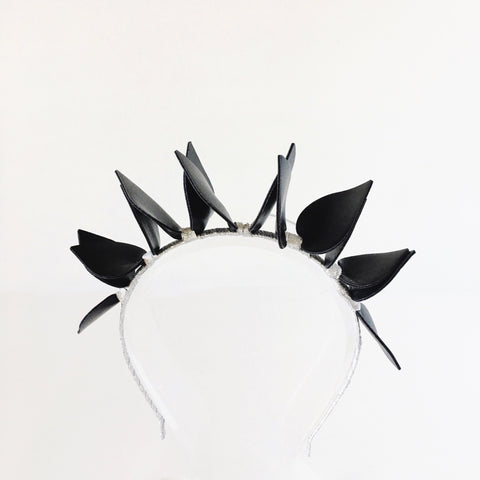 Black and Silver Headband CROWN halo Fascinator hair accessory Perth