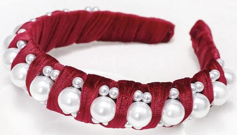 Embellished Velvet Headband with Pearls