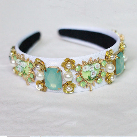 White Baroque Headband with green crystals gold