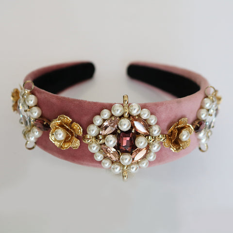 Metal Flower Hair Accessory on Pink Velvet Baroque-Style Crown Headband
