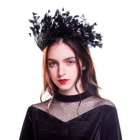 Black Feather Fascinator Headband Hair Accessory Australia