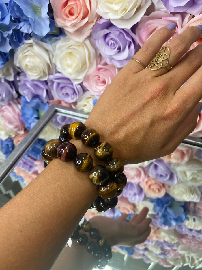 Large Bead Tigers Eye Bracelet