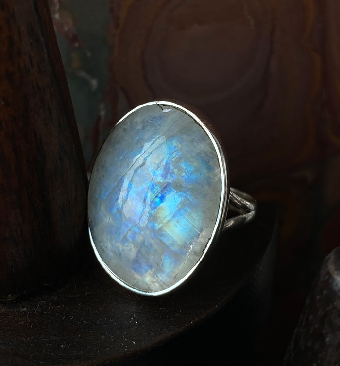 Sterling Silver Moonstone Size 8 Ring