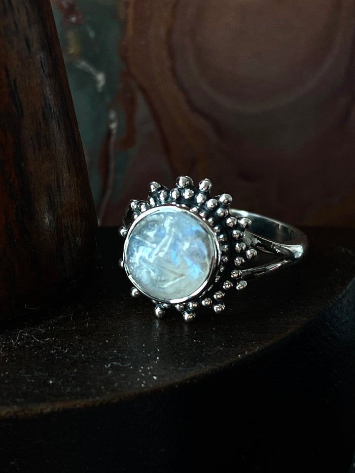 Sterling Silver Moonstone Sun 5.25 Ring